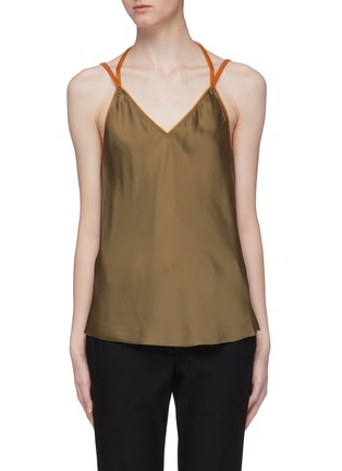 Main View - Click To Enlarge - HELMUT LANG - Contrast halterneck strap satin camisole top