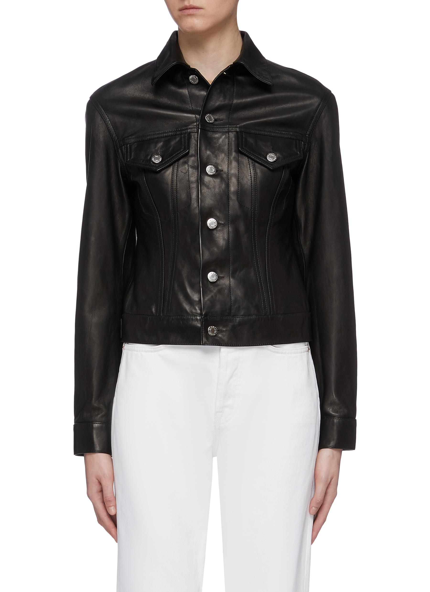 Femme leather trucker jacket by Helmut Lang
