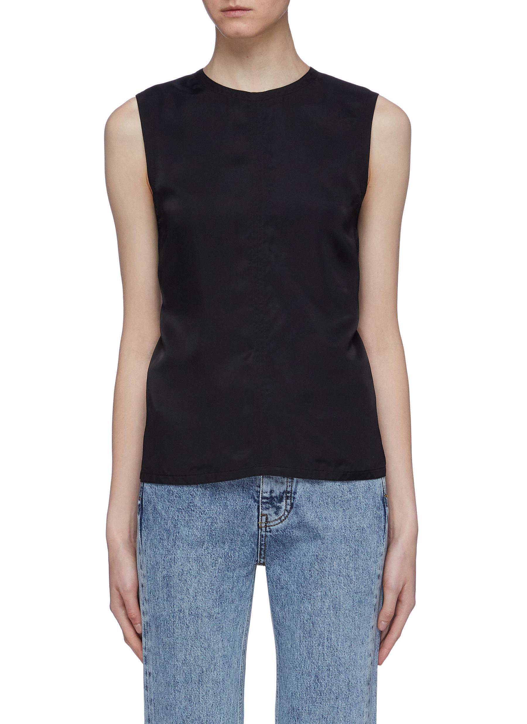 Cutout open back sleeveless top by Helmut Lang