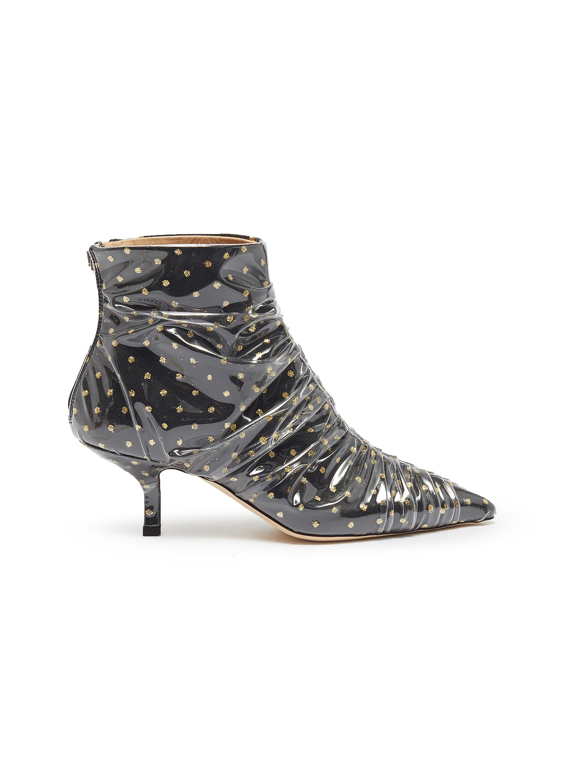 Ruched PVC layer glitter polka dot ankle boots by Midnight 00