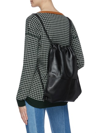 Figure View - Click To Enlarge - A-ESQUE - Leather drawstring backpack