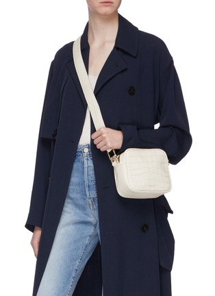 Figure View - Click To Enlarge - DEMELLIER - 'The Athens' croc embossed leather square crossbody bag