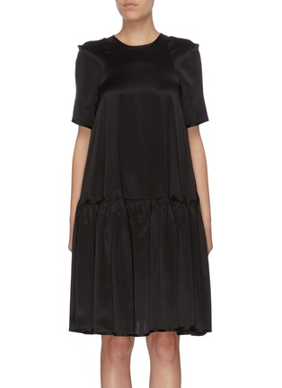 Main View - Click To Enlarge - CECILIE BAHNSEN - Pleated hem satin dress