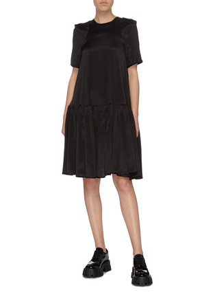 Figure View - Click To Enlarge - CECILIE BAHNSEN - Pleated hem satin dress