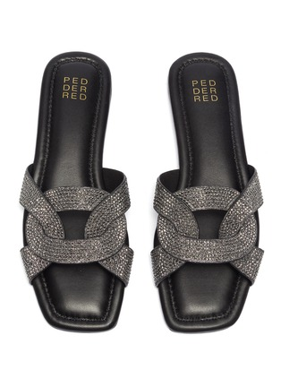 Detail View - Click To Enlarge - PEDDER RED - 'Cameron' strass loop slide sandals