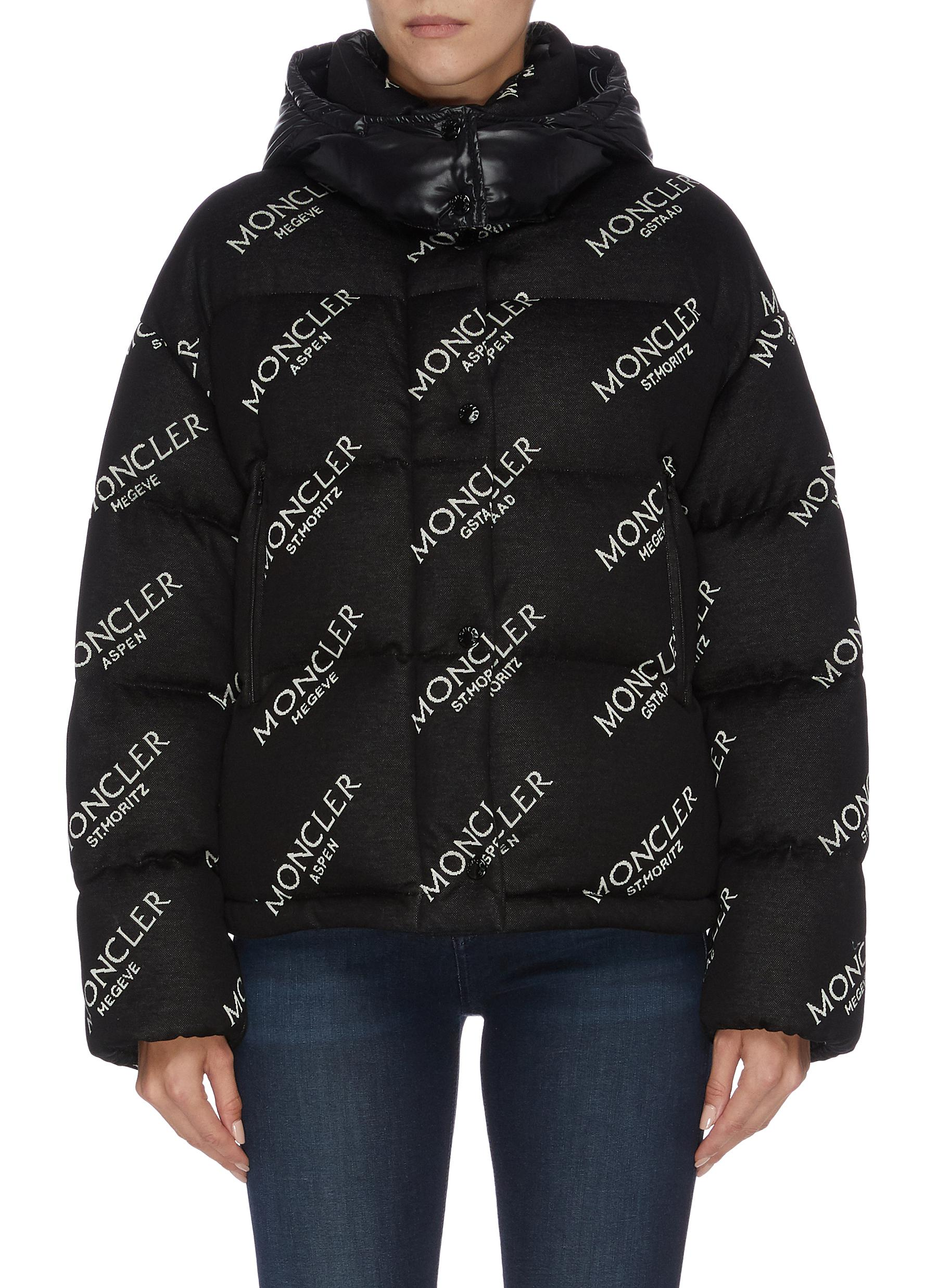 Caille logo print down puffer jacket by Moncler