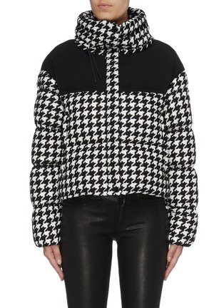 Main View - Click To Enlarge - MONCLER - 'Nil' contrast yoke houndstooth jacquard down puffer jacket