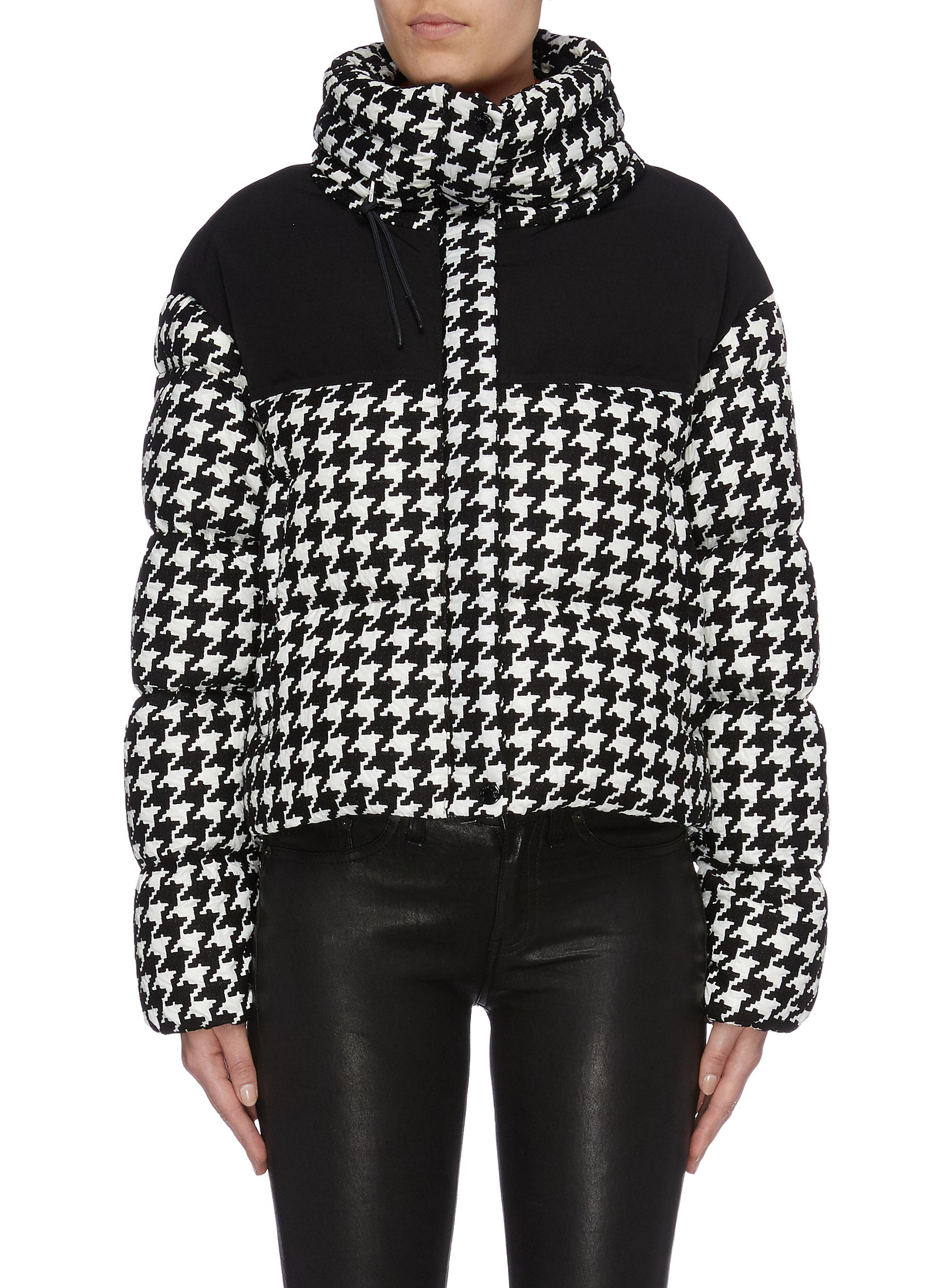 Nil contrast yoke houndstooth jacquard down puffer jacket by Moncler