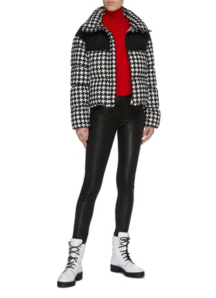Figure View - Click To Enlarge - MONCLER - 'Nil' contrast yoke houndstooth jacquard down puffer jacket
