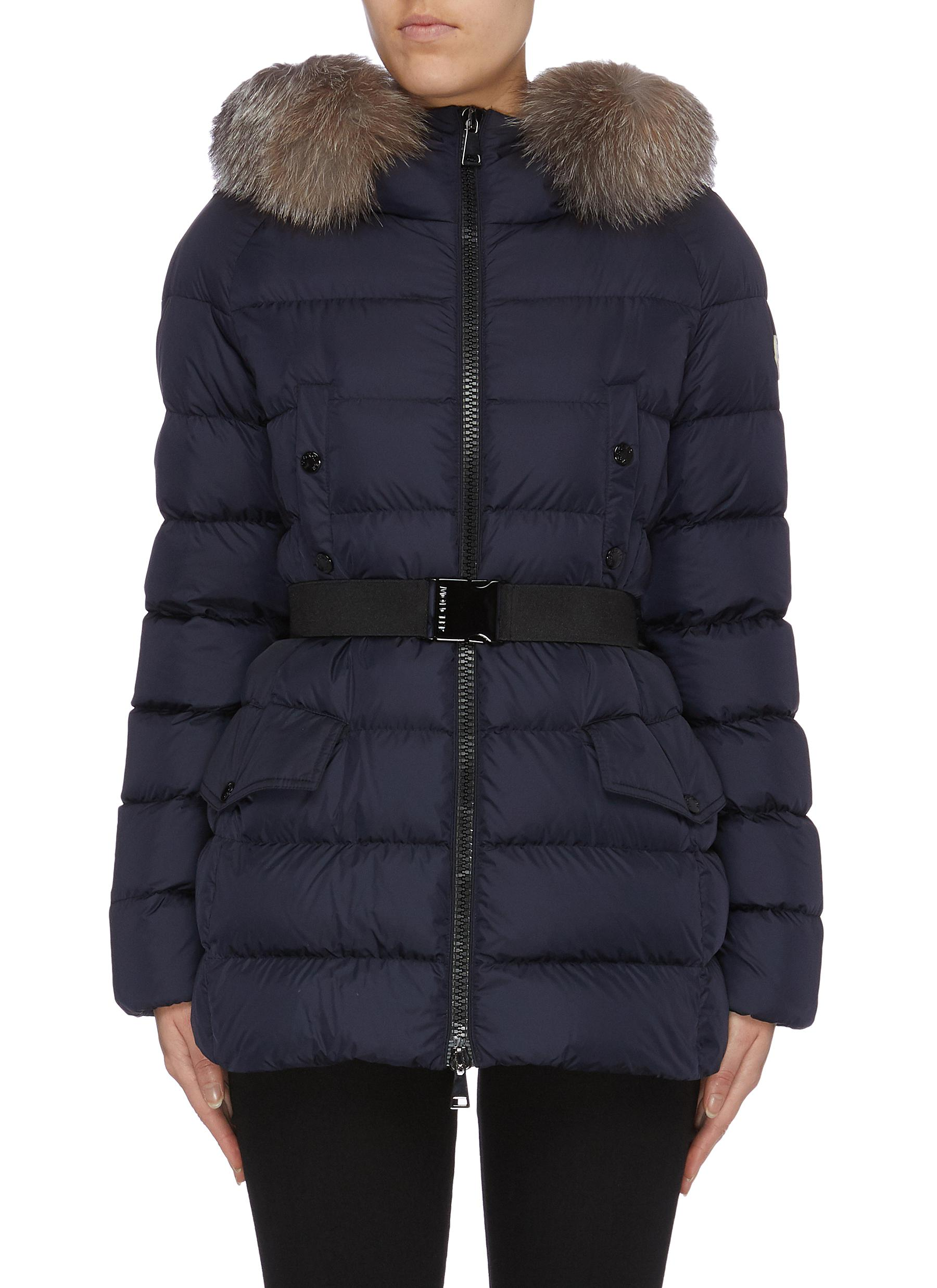 Clion detachable hood belted down puffer coat by Moncler