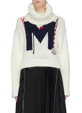 Main View - Click To Enlarge - MONCLER - Monogram knit turtleneck sweater