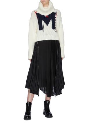 Figure View - Click To Enlarge - MONCLER - Monogram knit turtleneck sweater