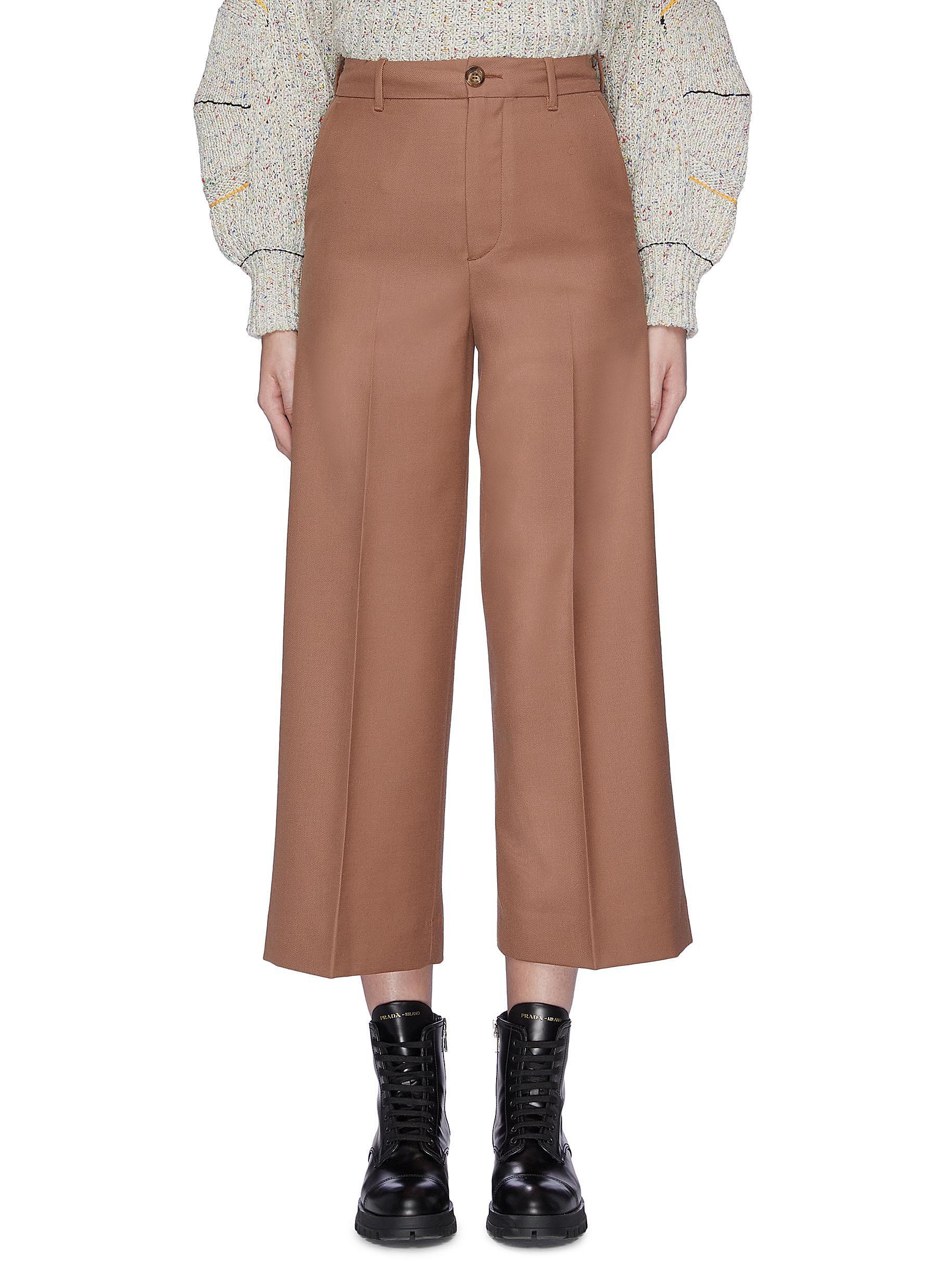 Buy Moncler Pants & Shorts Cropped Virgin wool chinos