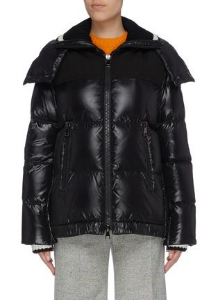 Main View - Click To Enlarge - MONCLER - 'Wouri' rib knit collar down puffer jacket