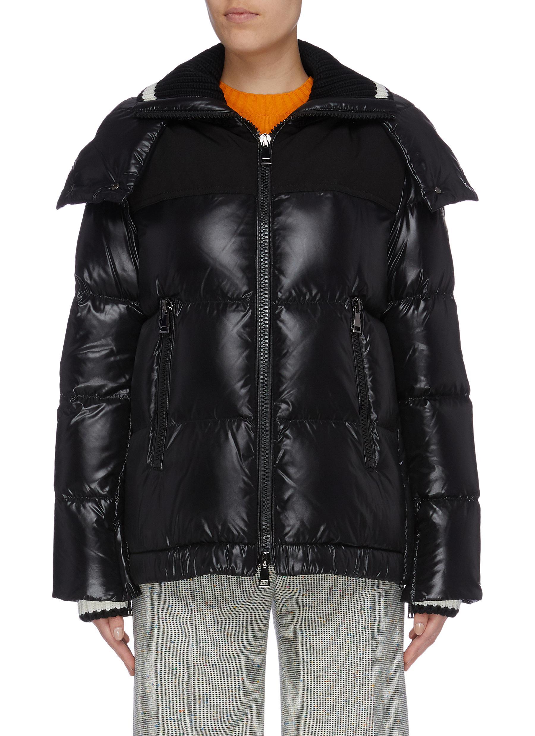 Buy Moncler Jackets 'Wouri' rib knit collar down puffer jacket