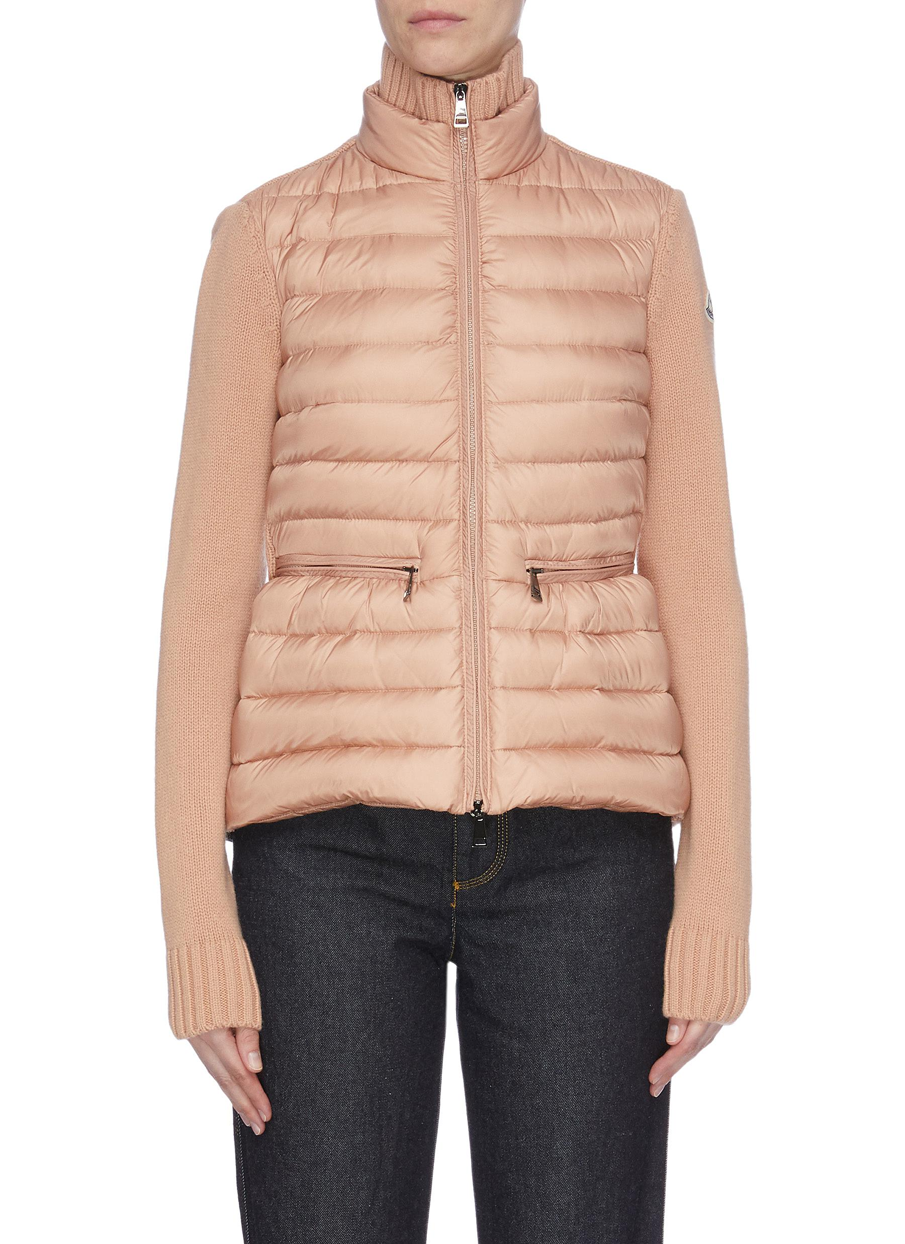 Puffer panel cardigan by Moncler