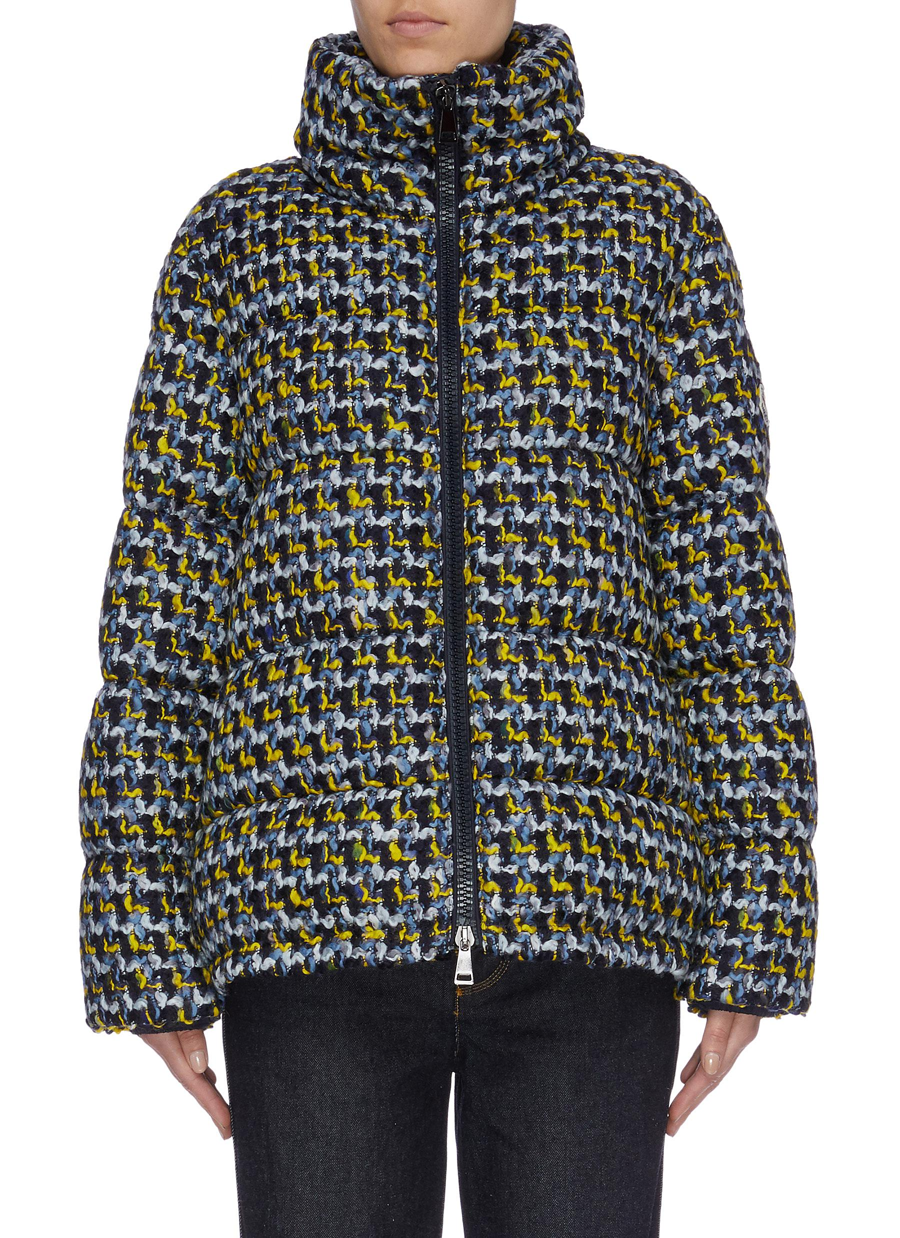 Elby hooded tweed down puffer jacket by Moncler