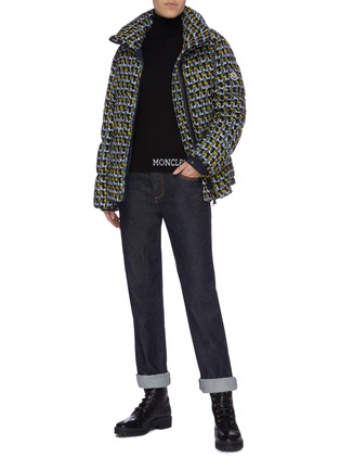 Figure View - Click To Enlarge - MONCLER - 'Elby' hooded tweed down puffer jacket