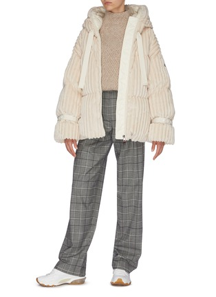 Figure View - Click To Enlarge - MONCLER - 'Loire' quilted oversized down corduroy jacket