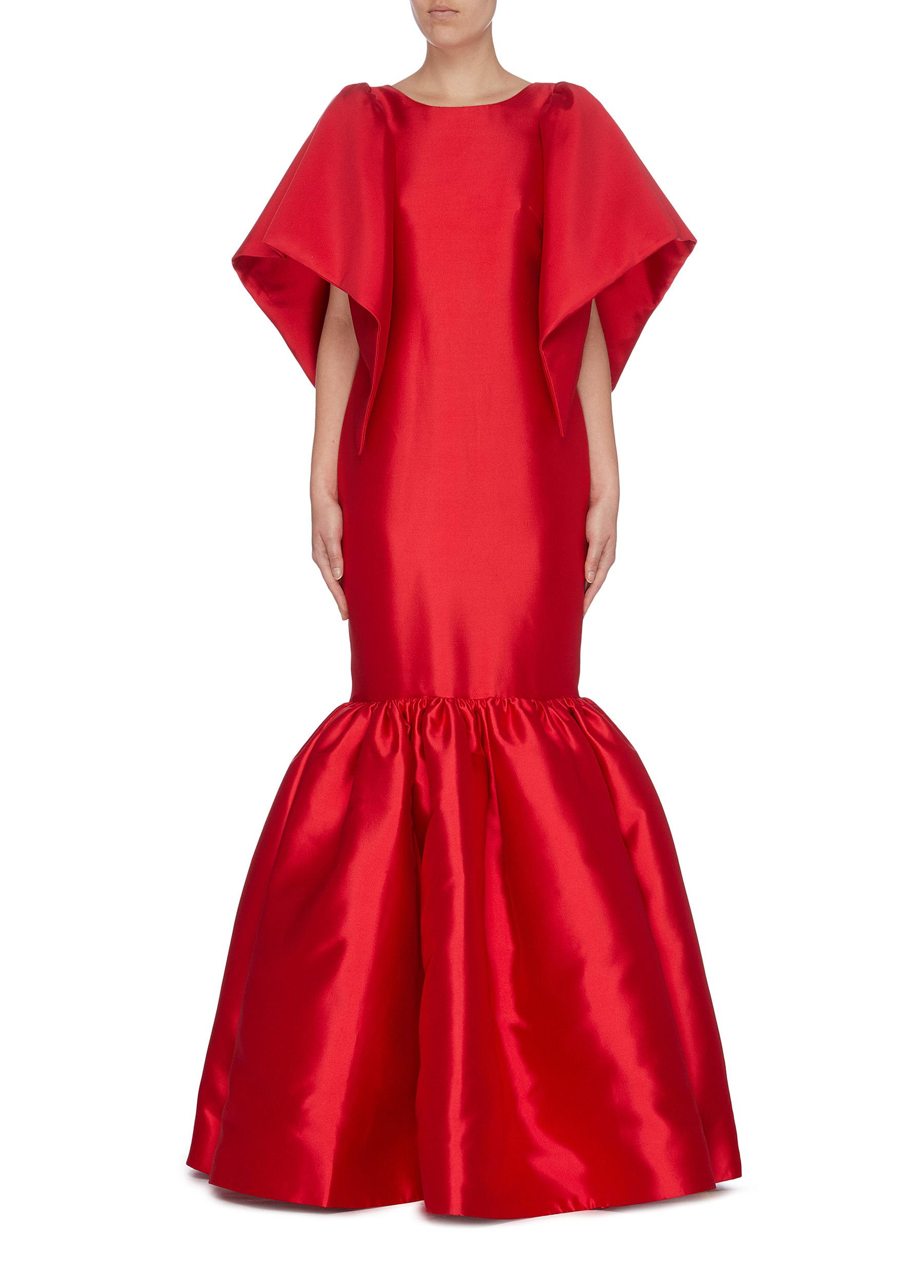 Palermo flared sleeve cutout back satin peplum gown by Leal Daccarett