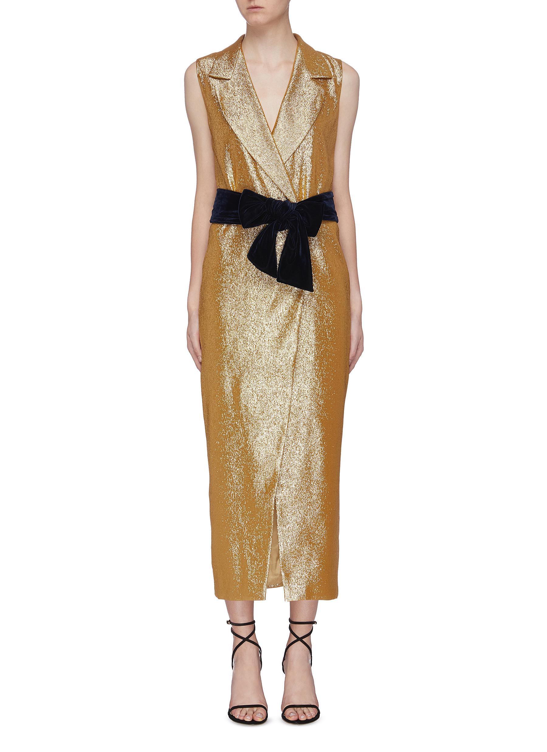 Gaia belted metallic vest dress by Leal Daccarett