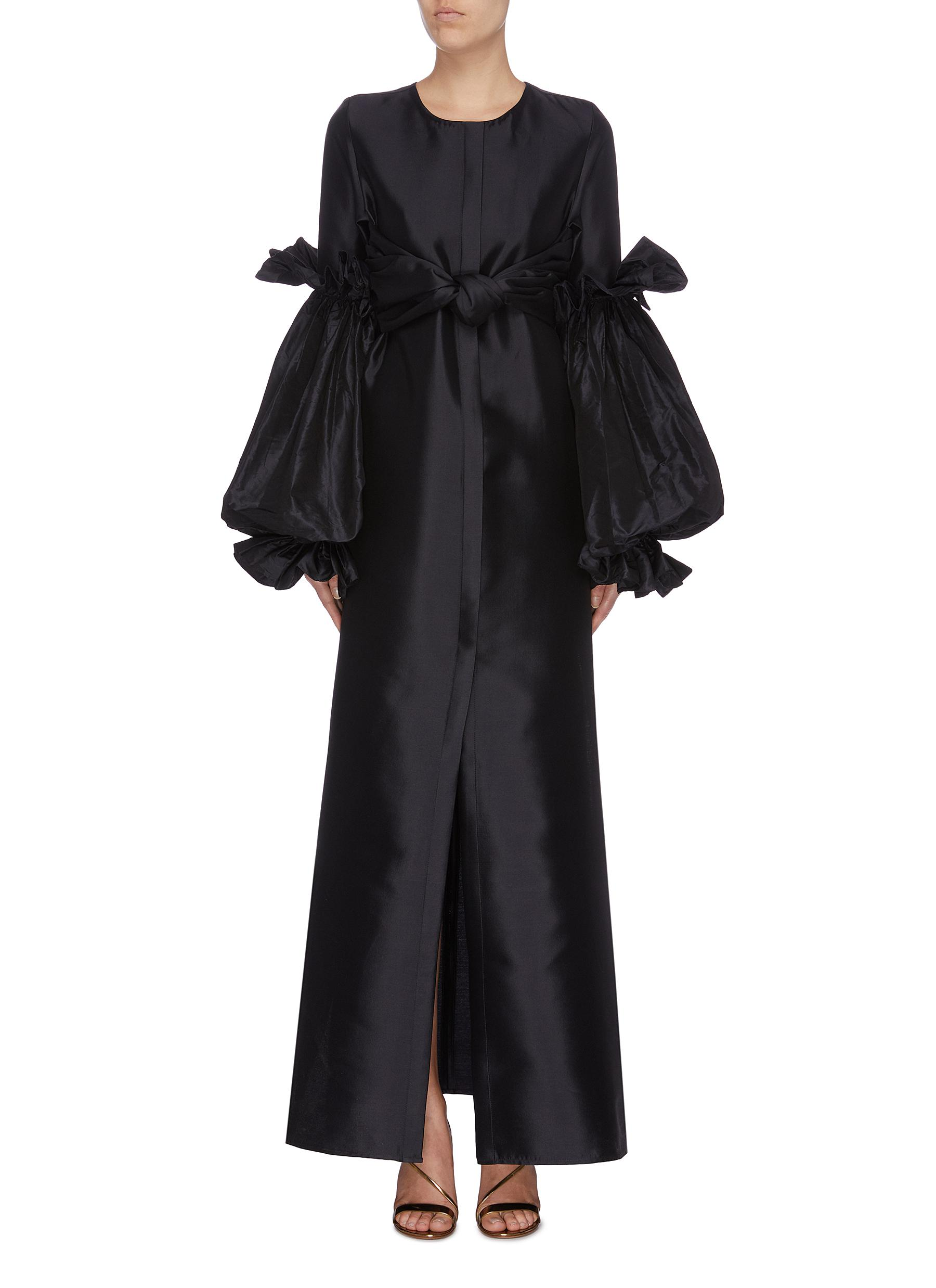 Ninfa tiered balloon sleeve bow front satin dress by Leal Daccarett