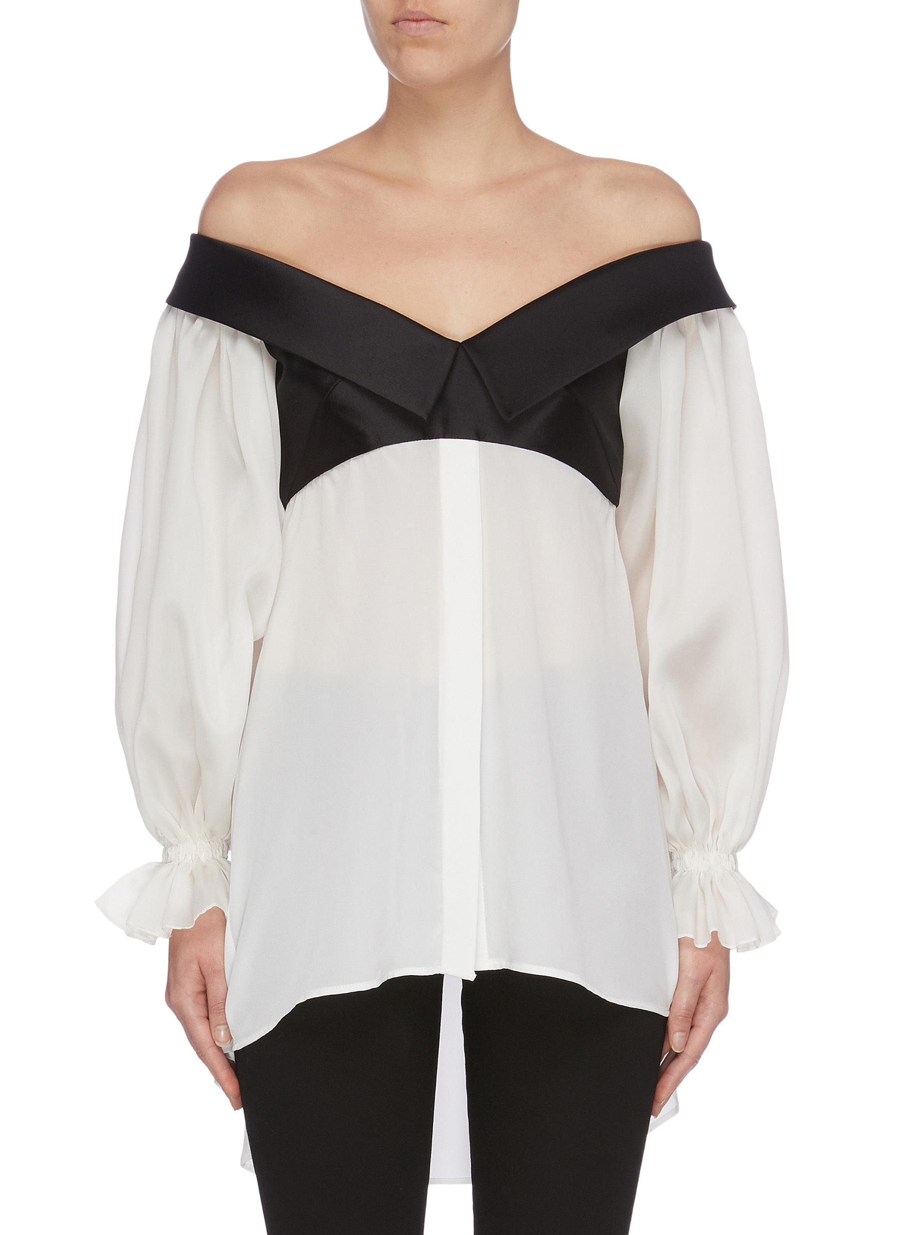 Carla satin collar panel balloon sleeve off-shoulder top by Leal Daccarett