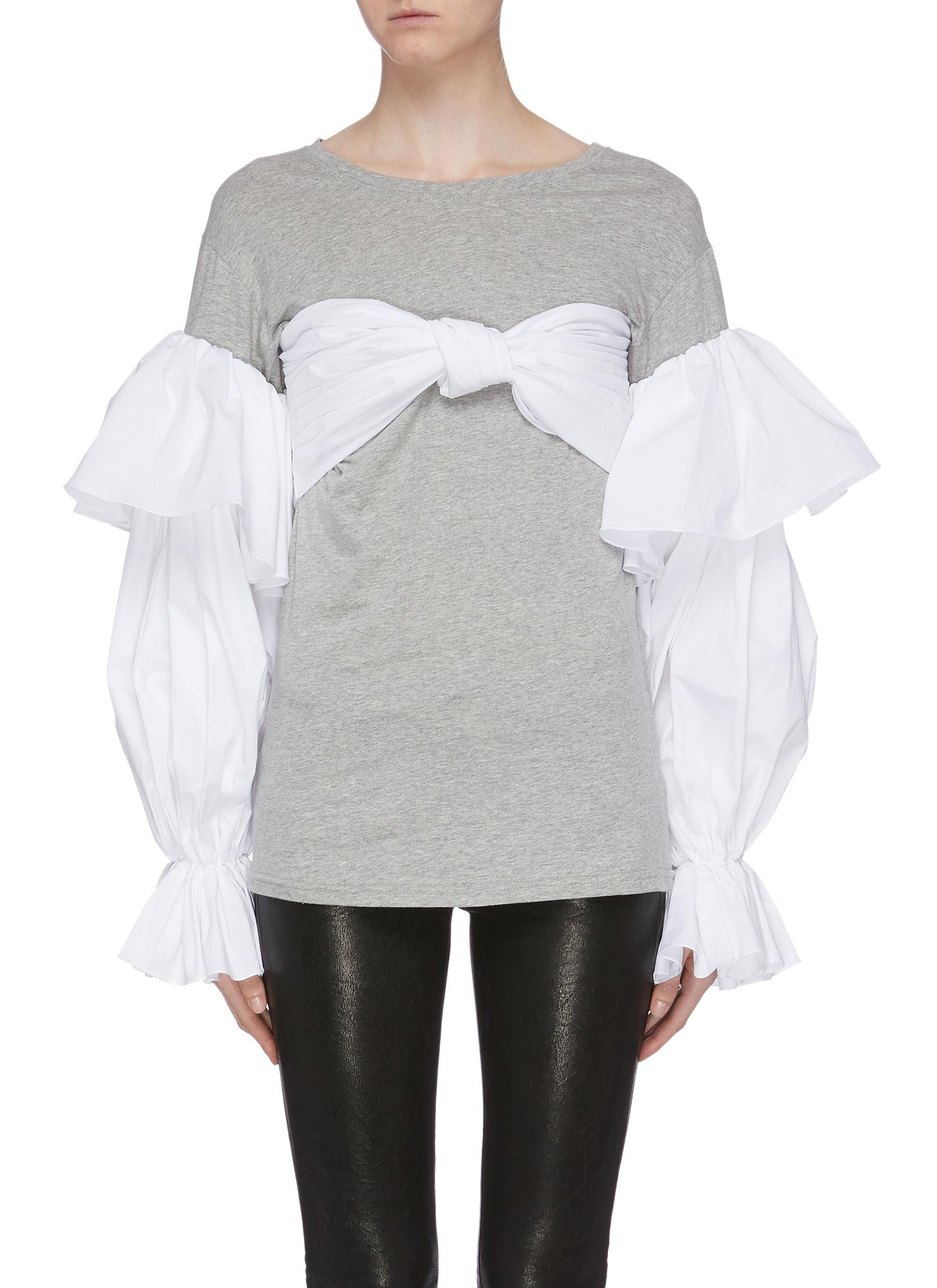 Lampedusa contrast panelled long balloon sleeve T-shirt by Leal Daccarett