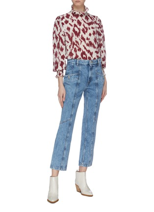 Figure View - Click To Enlarge - ISABEL MARANT ÉTOILE - 'Yoshi' ruffle abstract print silk crepe top
