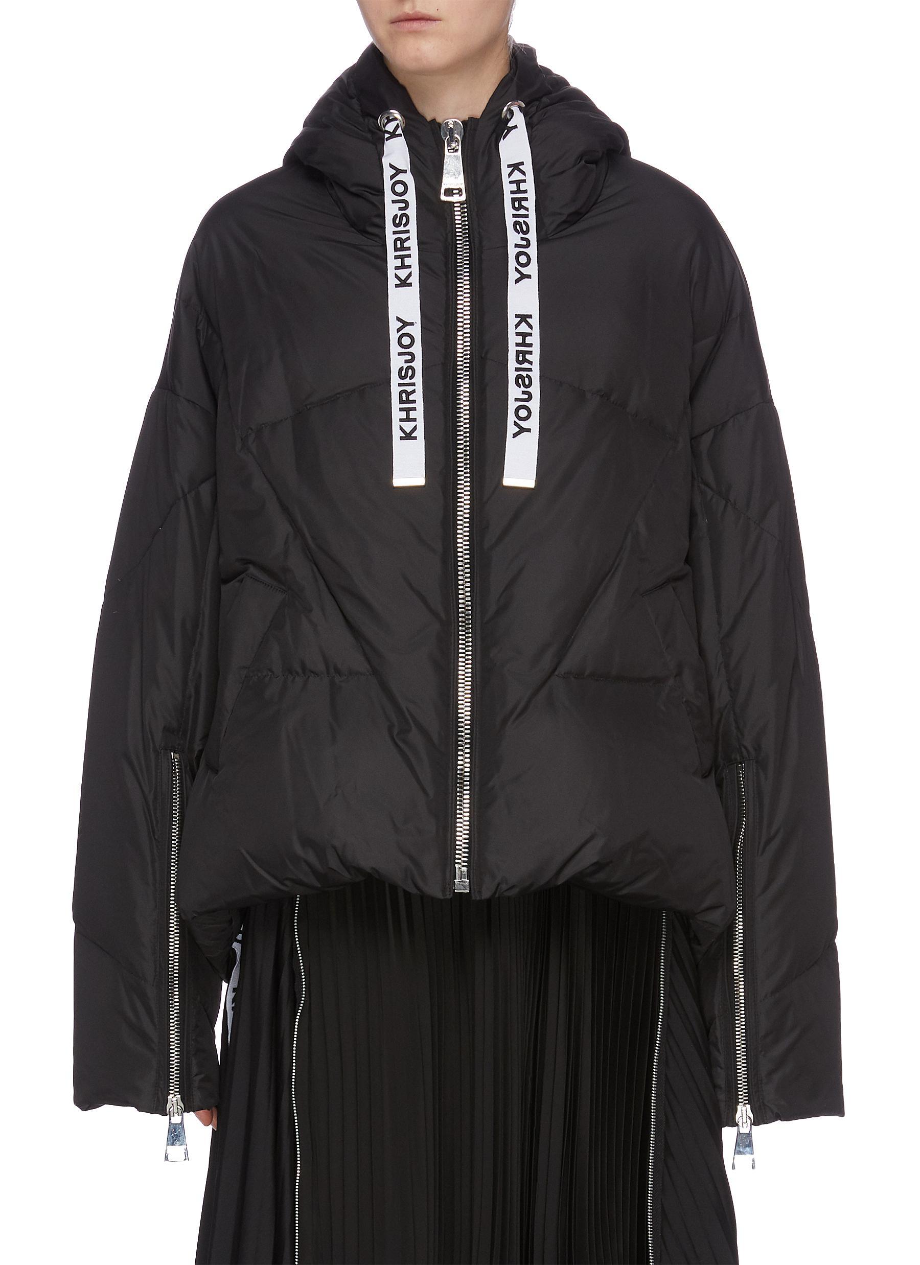 Hooded zip cuff down puffer jacket by Khrisjoy