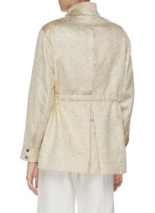 Back View - Click To Enlarge - J.CRICKET - Cloque jacquard drawstring waist parka jacket