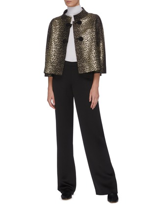 Figure View - Click To Enlarge - J.CRICKET - Leopard print mandarin collar cropped jacket