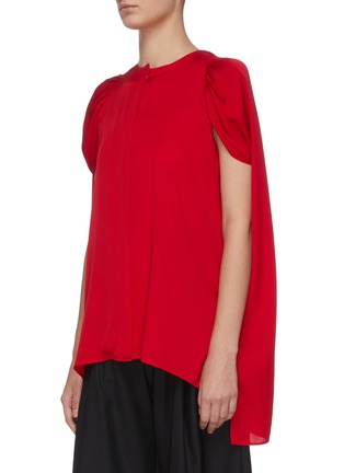 Detail View - Click To Enlarge - J.CRICKET - Cape sleeve neck tie button down silk top