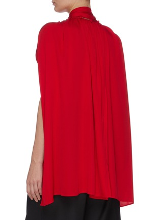 Back View - Click To Enlarge - J.CRICKET - Cape sleeve neck tie button down silk top