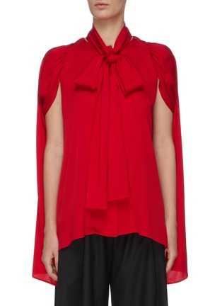 Main View - Click To Enlarge - J.CRICKET - Cape sleeve neck tie button down silk top