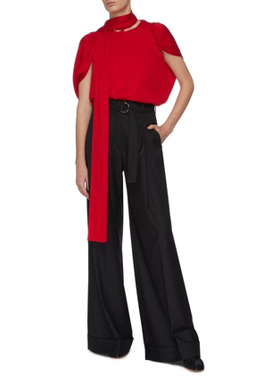 Figure View - Click To Enlarge - J.CRICKET - Cape sleeve neck tie button down silk top