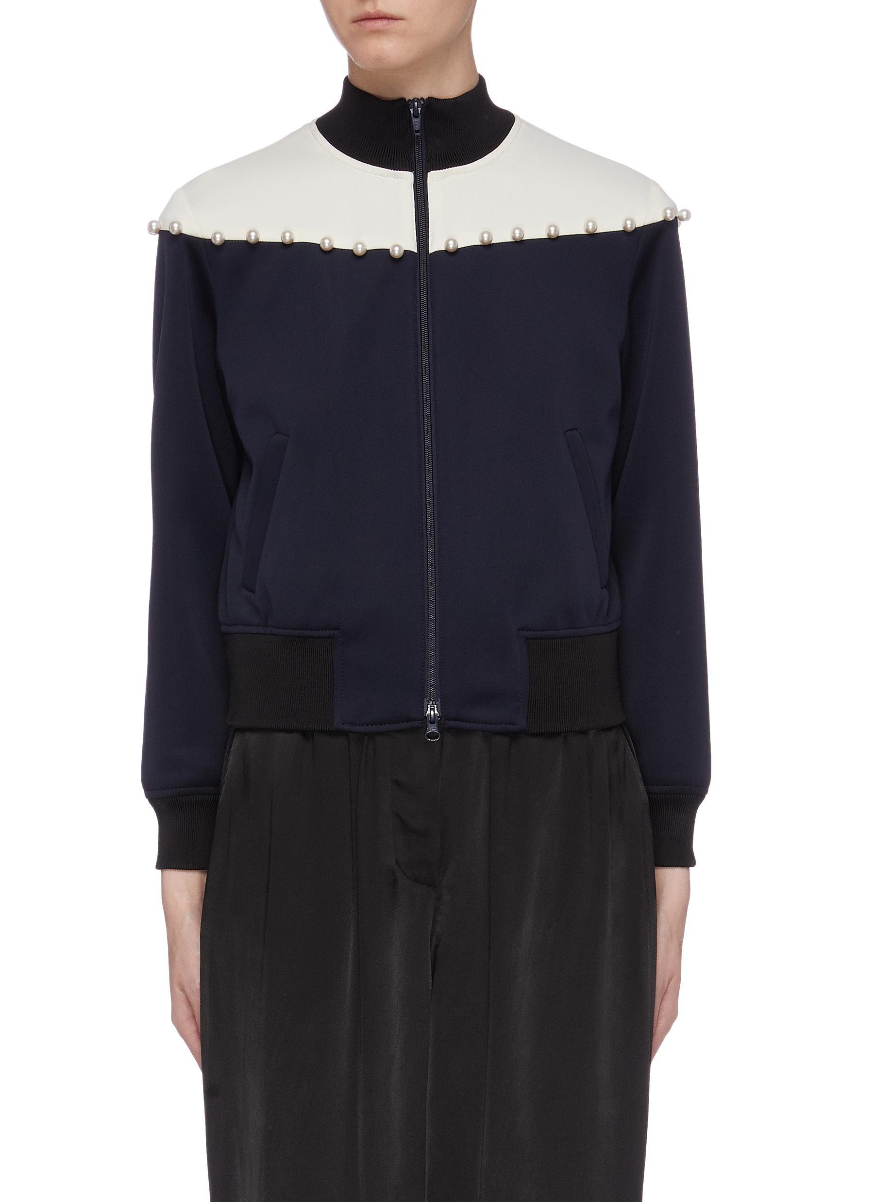 Faux pearl colourblock yoke track jacket by 3.1 Phillip Lim
