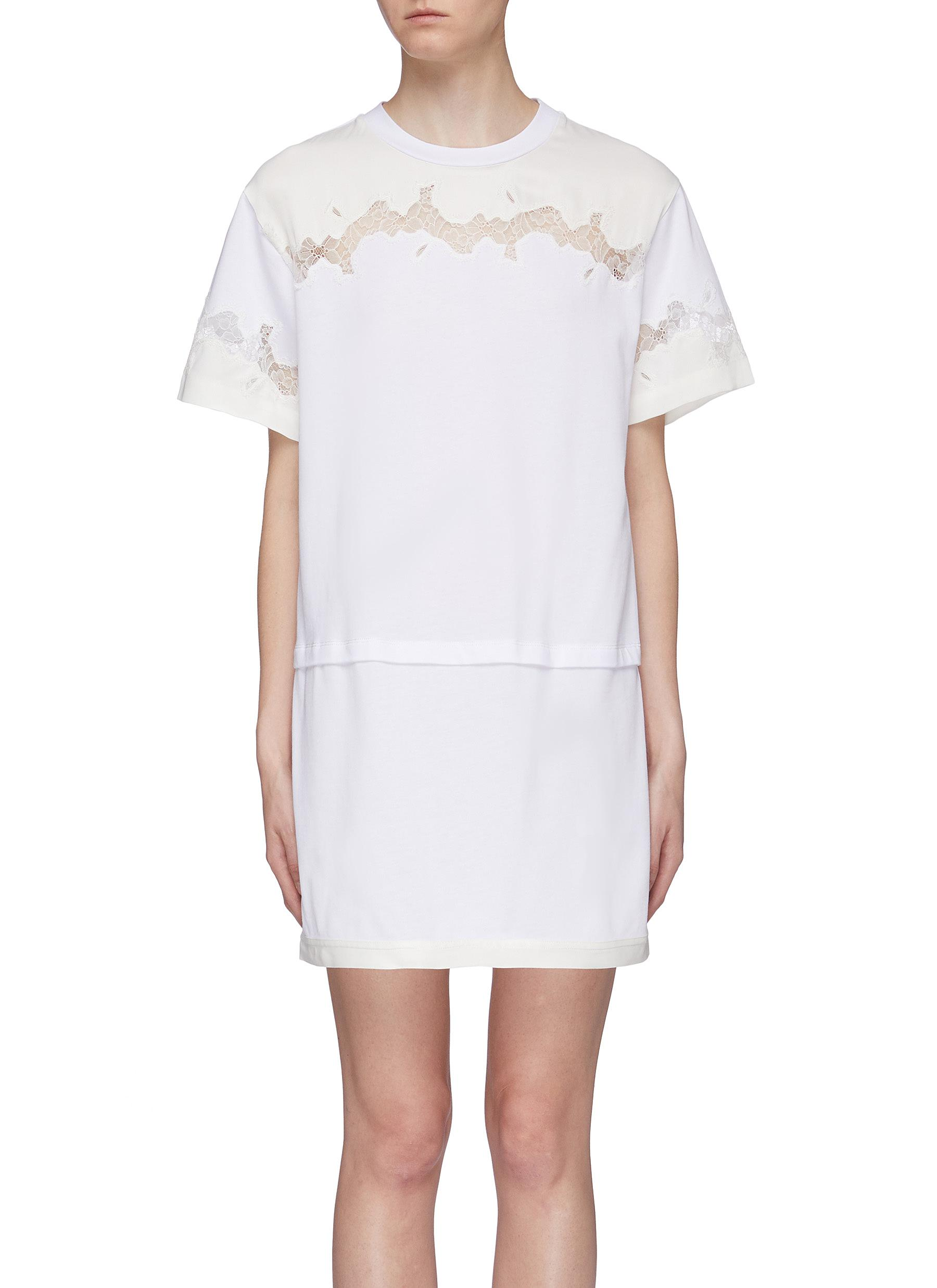 Chantilly lace insert panelled T-shirt dress by 3.1 Phillip Lim