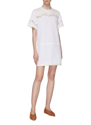 Figure View - Click To Enlarge - 3.1 PHILLIP LIM - Chantilly lace insert panelled T-shirt dress