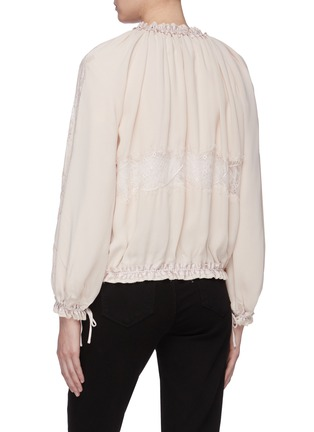 Back View - Click To Enlarge - 3.1 PHILLIP LIM - Chantilly lace insert ruched bomber jacket