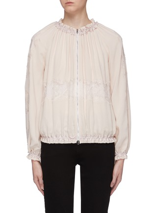 Main View - Click To Enlarge - 3.1 PHILLIP LIM - Chantilly lace insert ruched bomber jacket