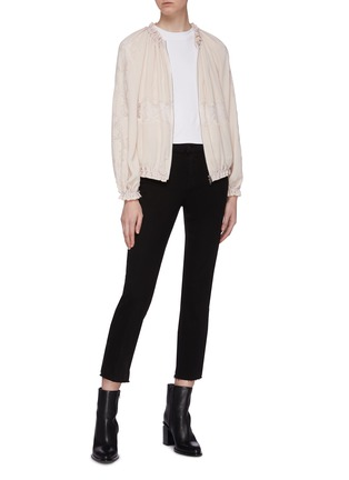 Figure View - Click To Enlarge - 3.1 PHILLIP LIM - Chantilly lace insert ruched bomber jacket