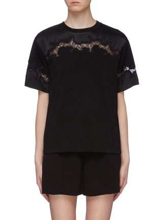 Main View - Click To Enlarge - 3.1 PHILLIP LIM - Chantilly lace insert T-shirt