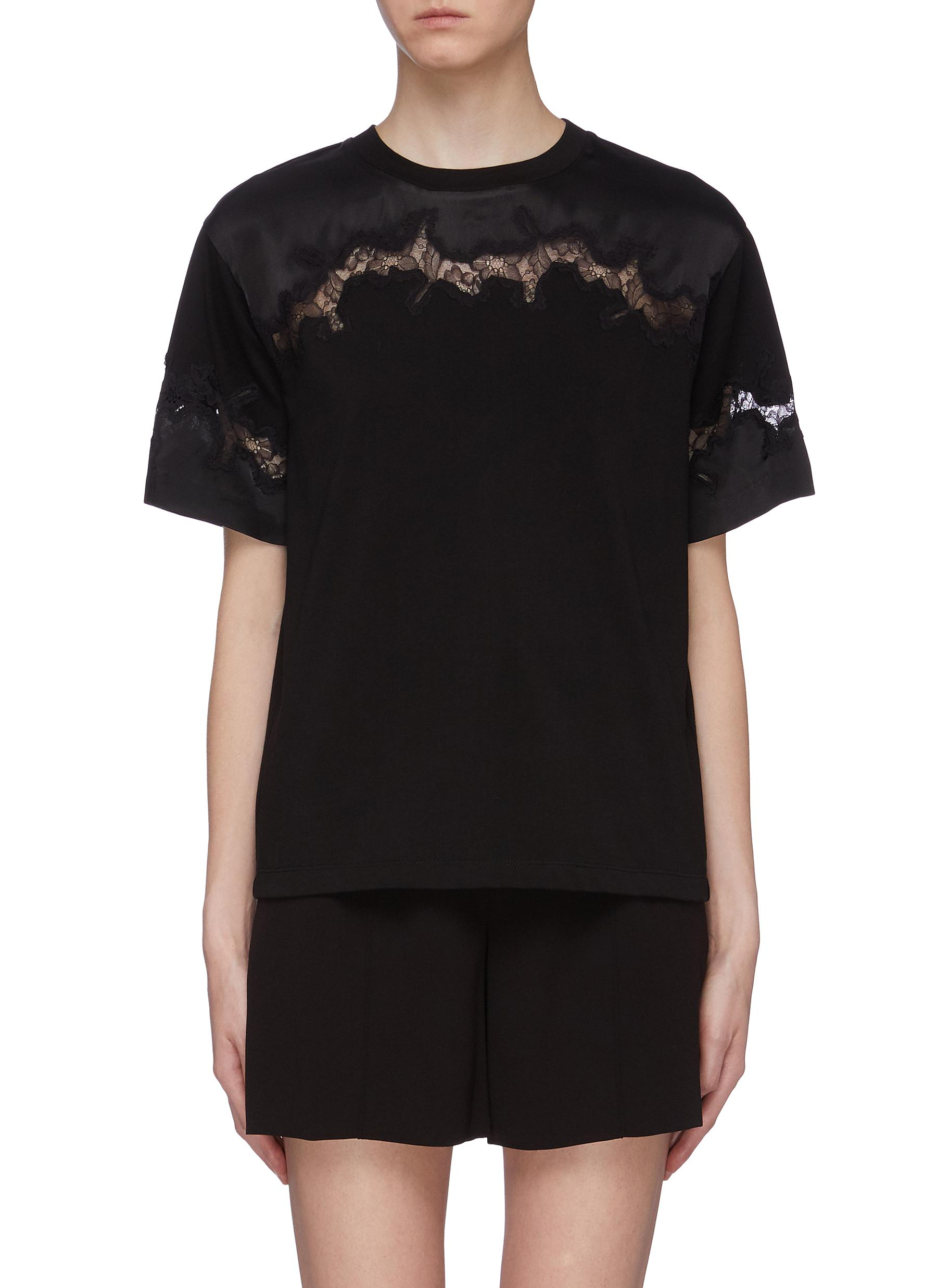 Chantilly lace insert T-shirt by 3.1 Phillip Lim