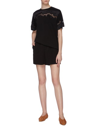 Figure View - Click To Enlarge - 3.1 PHILLIP LIM - Chantilly lace insert T-shirt