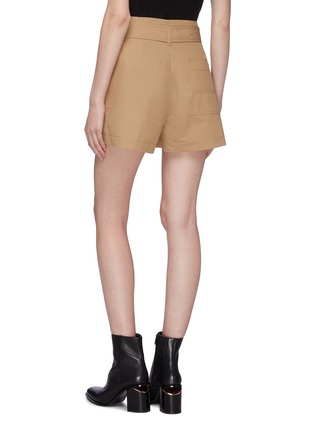 Back View - Click To Enlarge - 3.1 PHILLIP LIM - Belted foldover waist pleated chino shorts