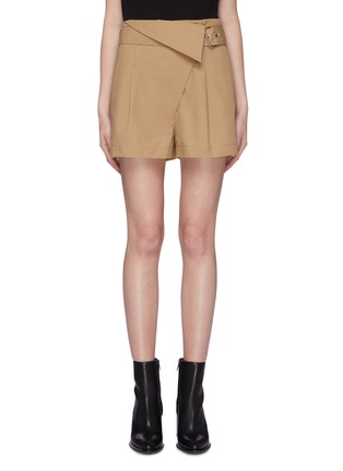 Main View - Click To Enlarge - 3.1 PHILLIP LIM - Belted foldover waist pleated chino shorts