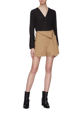 Figure View - Click To Enlarge - 3.1 PHILLIP LIM - Belted foldover waist pleated chino shorts