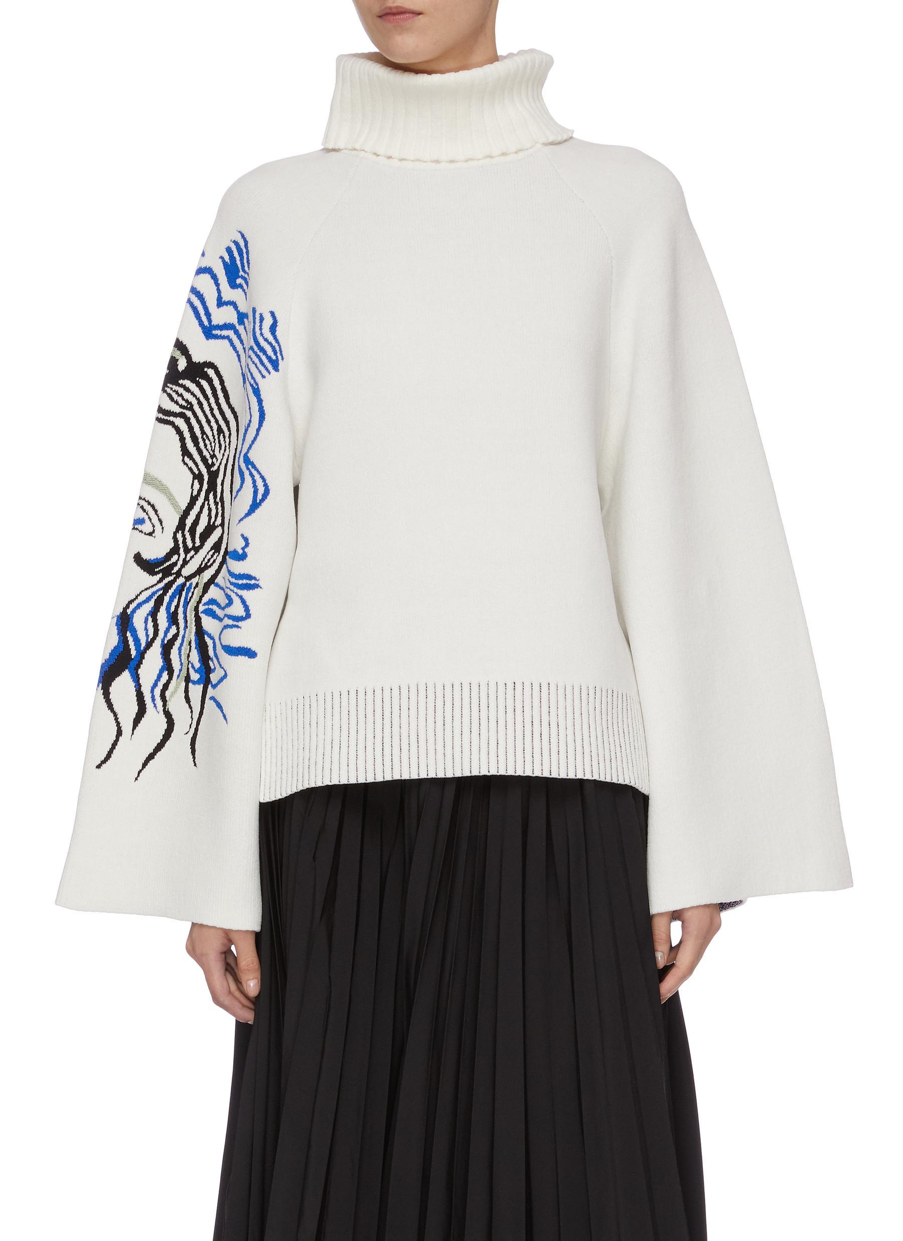 Portrait jacquard mock neck sweater by 3.1 Phillip Lim