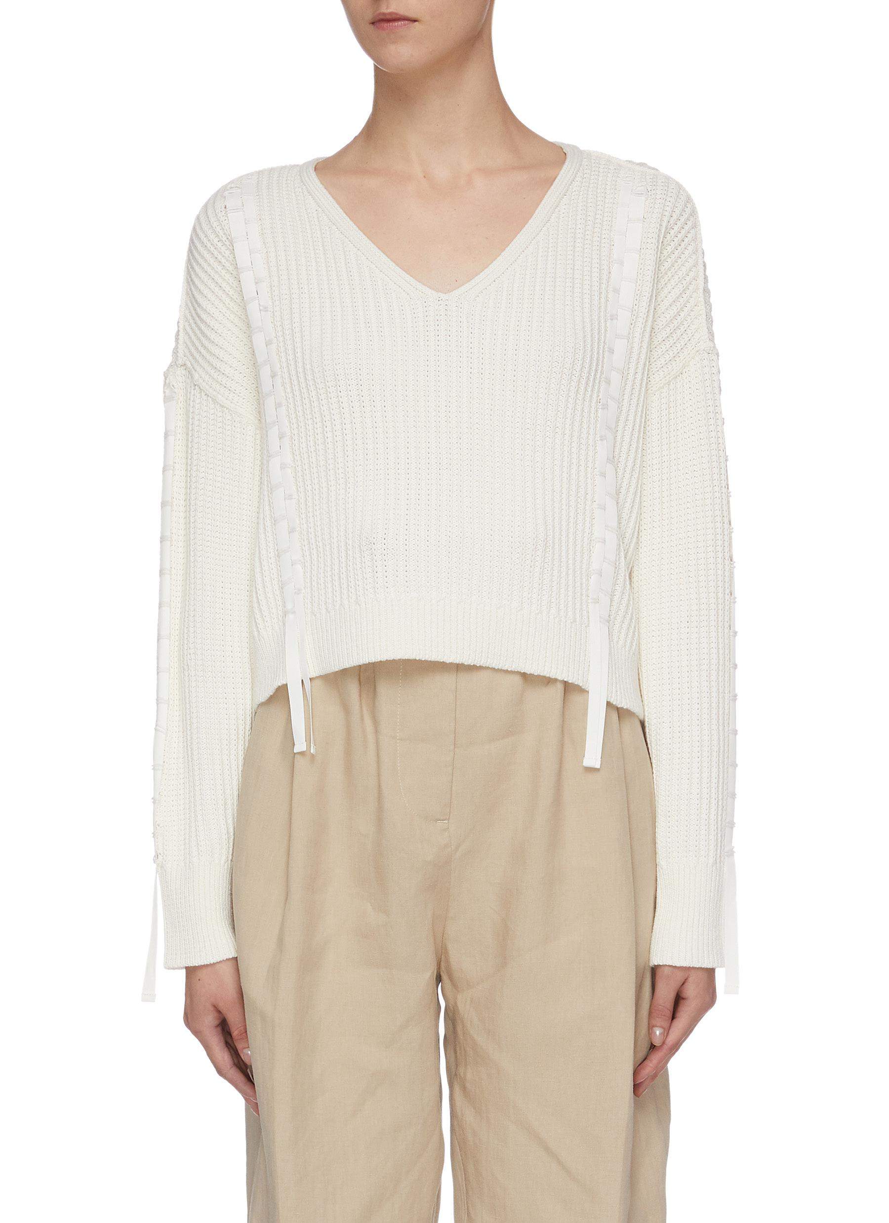 Ribbon trim cotton-wool cropped sweater by 3.1 Phillip Lim